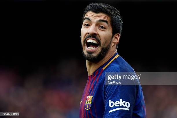 Luis Suarez of FC Barcelona reacts during the La Liga match between FC Barcelona and Real Celta de Vigo at Camp Nou on December 2 2017 in Barcelona...