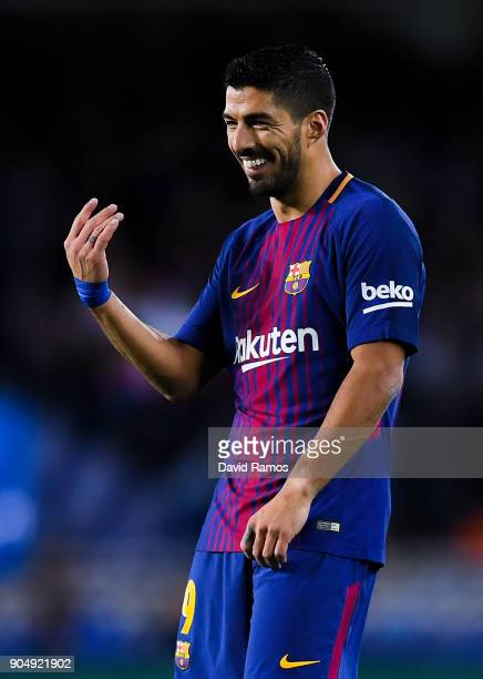 Luis Suarez of FC Barcelona reacts during the La Liga match between Real Sociedad and FC Barcelona at Anoeta stadium on January 14 2018 in San...