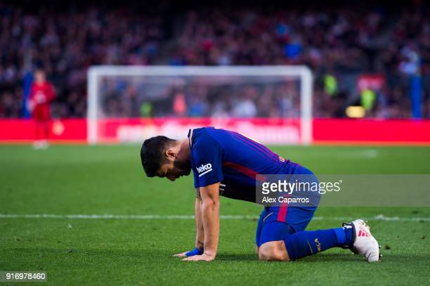 Luis Suarez of FC Barcelona reacts during the La Liga match between Barcelona and Getafe at Camp Nou on February 11 2018 in Barcelona Spain