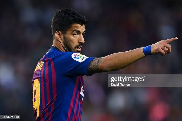 Luis Suarez of FC Barcelona reacts during the La Liga match between Barcelona and Real Sociedad at Camp Nou on May 20 2018 in Barcelona Spain