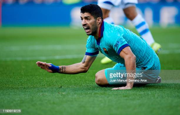 Luis Suarez of FC Barcelona reacts during the Liga match between Real Sociedad and FC Barcelona at Estadio Anoeta on December 14 2019 in San...