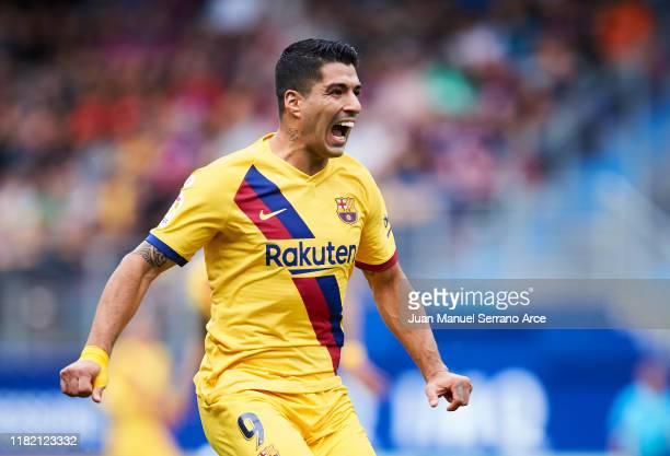 Luis Suarez of FC Barcelona reacts during the Liga match between SD Eibar SAD and FC Barcelona at Ipurua Municipal Stadium on October 19 2019 in...