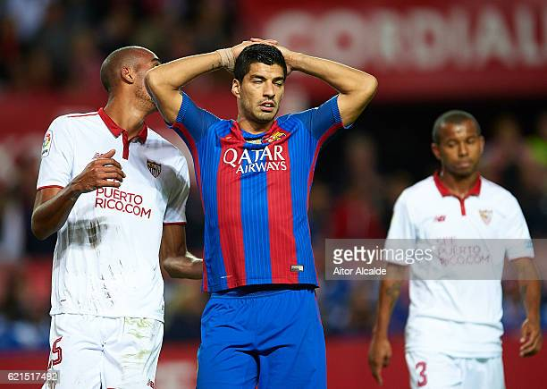 Luis Suarez of FC Barcelona reacts during the match between Sevilla FC vs FC Barcelona as part of La Liga at Ramon Sanchez Pizjuan Stadium on...