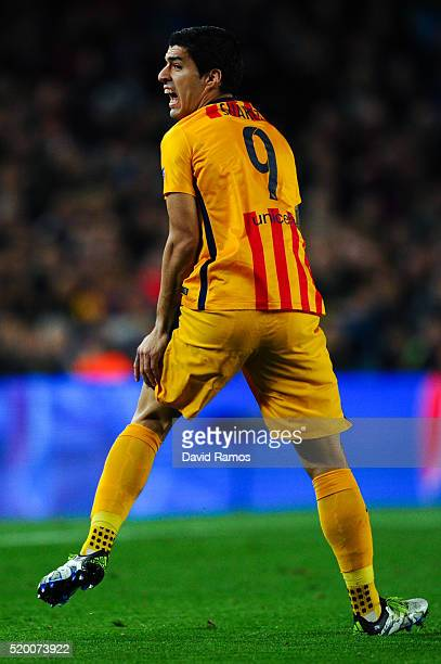 Luis Suarez of FC Barcelona reacts during the UEFA Champions League quarter final first leg match between FC Barcelona and Club Atletico de Madrid at...