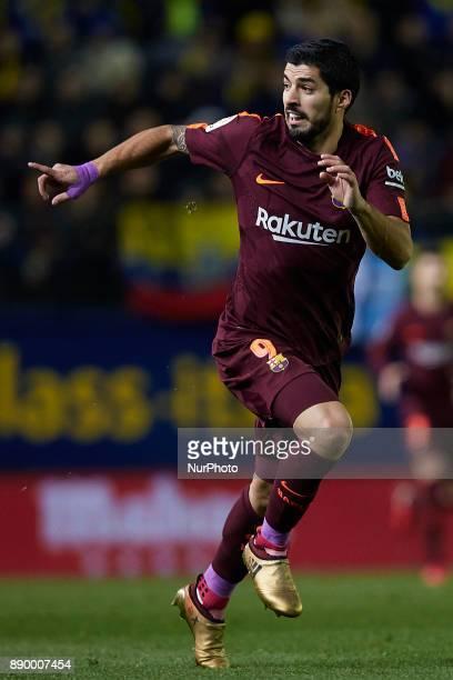 Luis Suarez of FC Barcelona runs during the La Liga game between Villarreal CF and FC Barcelona at Estadio de la Ceramica on December 10 2017 in...