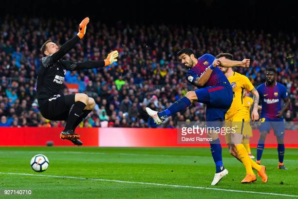 Luis Suarez of FC Barcelona scores a disallowed goal during the La Liga match between Barcelona and Atletico Madrid at Camp Nou on March 4 2018 in...