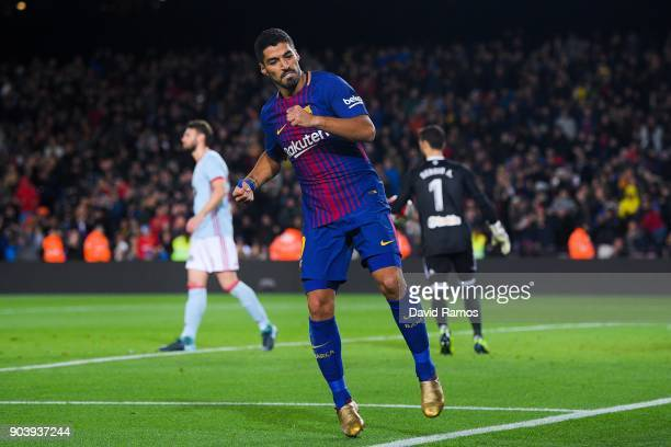 Luis Suarez of FC Barcelona scores his team's fourth goal during the Copa del Rey round of 16 second leg match between FC Barcelona and Celta de Vigo...