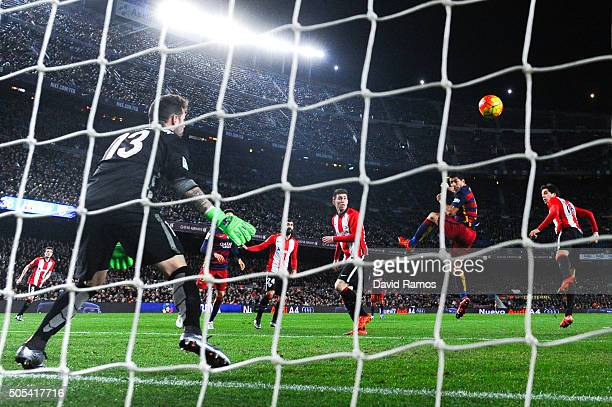 Luis Suarez of FC Barcelona scores his team's sixth goal during the La Liga match between FC Barcelona and Athletic Club de Bilbao at Camp Nou on...