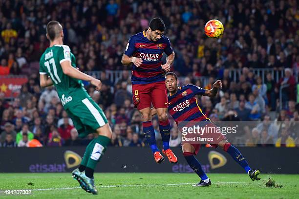 Luis Suarez of FC Barcelona scores the opening goal during the La Liga match between FC Barcelona and SD Eibar at Camp Nou on October 25 2015 in...