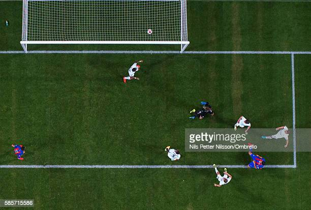 Luis Suarez of FC Barcelona scores to make it 02 2016 International Champions Cup Leicester City FC and FC Barcelona at Friends arena on August 3...