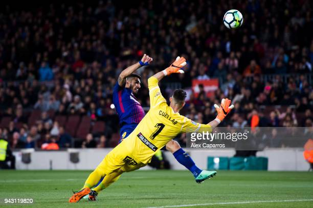 Luis Suarez of FC Barcelona shoots the ball with the opposition of Ivan Cuellar of CD Leganes during the La Liga match between Barcelona and Leganes...