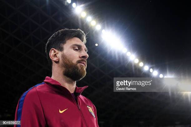Luis Suarez of FC Barcelona walks onto the pitch priot to the La Liga match between Real Sociedad and FC Barcelona at Anoeta stadium on January 14...