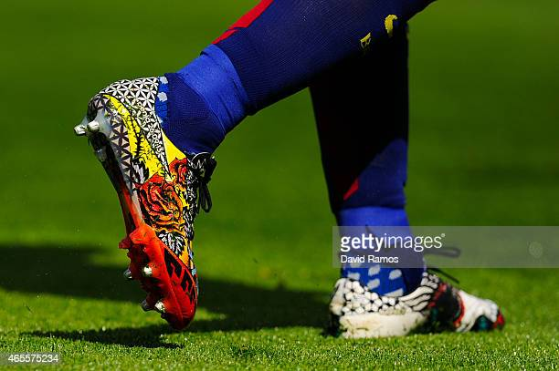 Luis Suarez of FC Barcelona wear new tattoo Adidas boots during the La Liga match between FC Barcelona and Rayo Vallecano de Madrid at Camp Nou on...