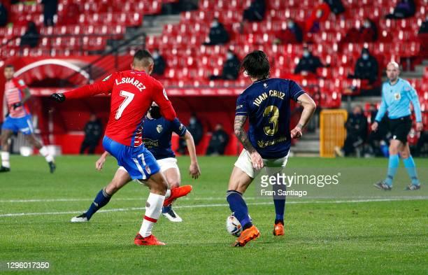 Luis Suarez of Granada CF scores their team's first goal during the La Liga Santander match between Granada CF and C.A. Osasuna at Estadio Nuevo Los...