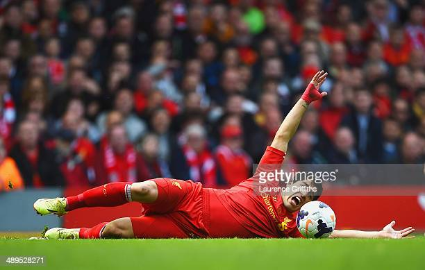 Luis Suarez of Liverpool appeals during the Barclays Premier League match between Liverpool and Newcastle United at Anfield on May 11 2014 in...