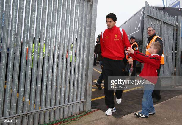 Luis Suarez of Liverpool arrives at the ground prior to the FA Cup with Budweiser Third Round match between Mansfield Town and Liverpool at One Call...