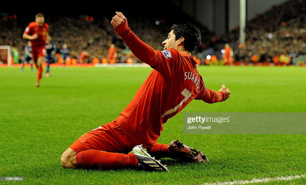 Luis Suarez of Liverpool celebrates his goal during the Barclays Premier League match between Liverpool and Sunderland at Anfield on January 2, 2013 in Liverpool, England.