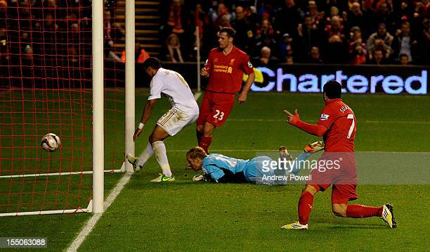 Luis Suarez of Liverpool celebrates his goal during the Capital One Cup Fourth Round match between Liverpool and Swansea City at Anfield on October...