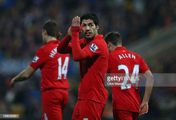 Luis Suarez of Liverpool celebrates his goal during the FA Cup with Budweiser Third Round match between Mansfield Town and Liverpool at One Call...