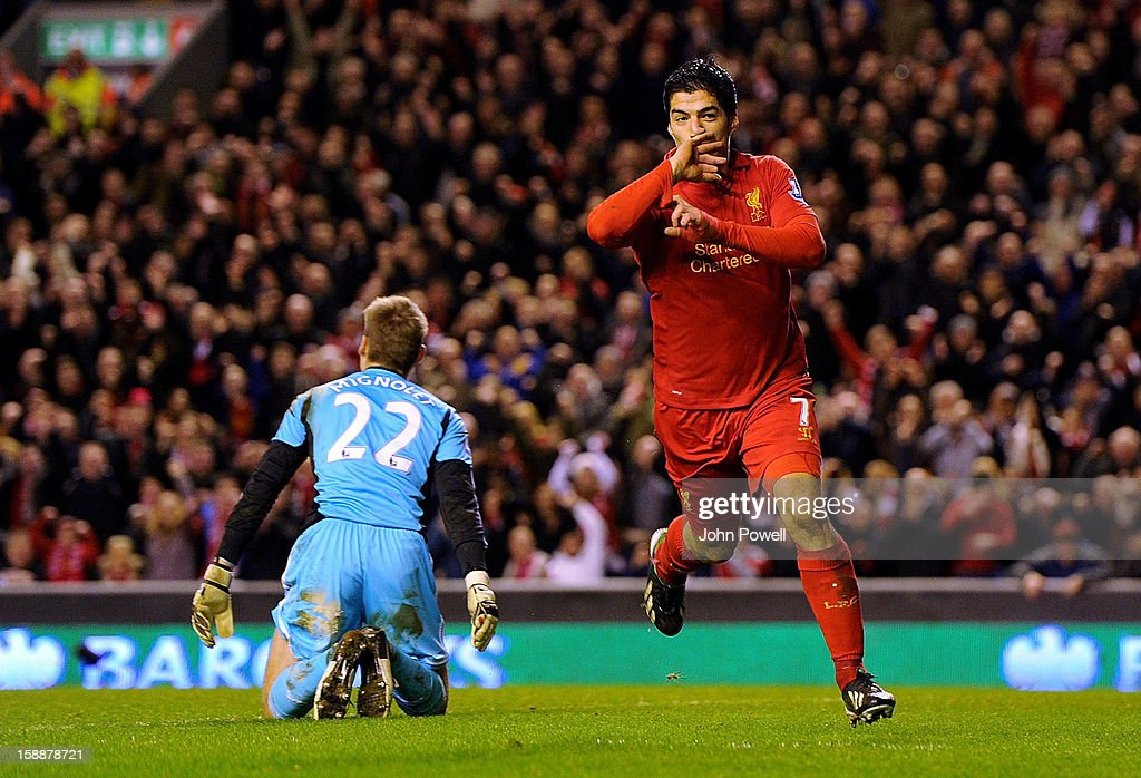 Luis Suarez of Liverpool celebrates his second goal during the Barclays Premier League match between Liverpool and Sunderland at Anfield on January 2, 2013 in Liverpool, England.
