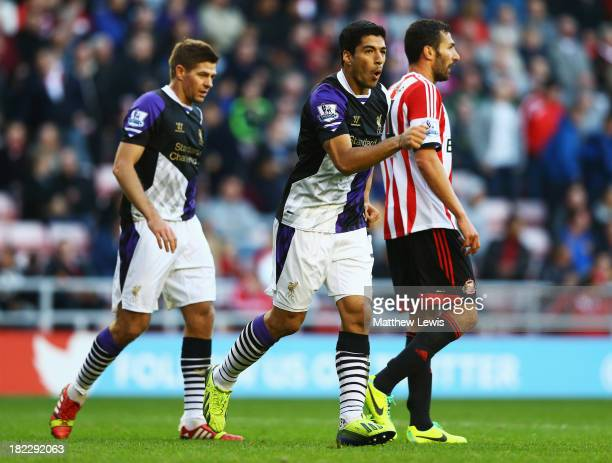 Luis Suarez of Liverpool celebrates his second goal during the Barclays Premier League match between Sunderland and Liverpool at the Stadium of Light...