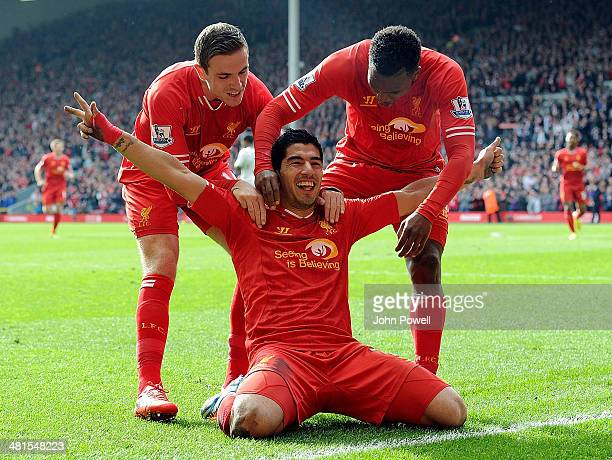 Luis Suarez of Liverpool celebrates the second goal during the Barclays Premier League match between Liverpool and Tottenham Hotspur at Anfield on...