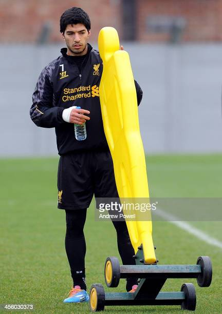 Luis Suarez of Liverpool during a training session at Melwood Training Ground on December 13 2013 in Liverpool England