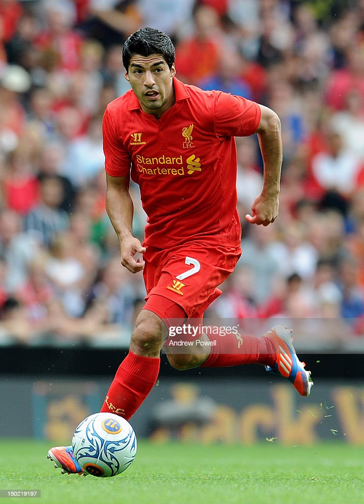 Luis Suarez of Liverpool during the Pre Season Friendly between Liverpool and Bayer Leverkusen at Anfield on August 12, 2012 in Liverpool, England.