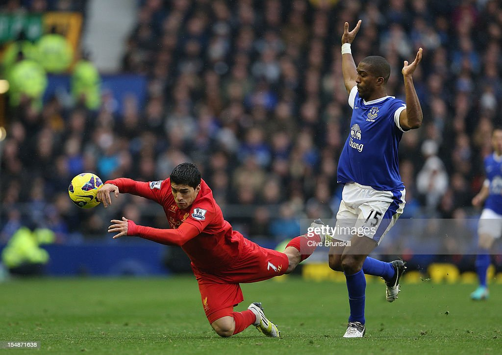 Luis Suarez of Liverpool goes down as he competes with Sylvain Distin of Everton during the Barclays Premier League match between Everton and Liverpool at Goodison Park on October 28, 2012 in Liverpool, England.