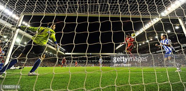Luis Suarez of Liverpool heads in the sixth goal during the FA Cup Fifth round match between Liverpool and Brighton and Hove Albion at Anfield on...