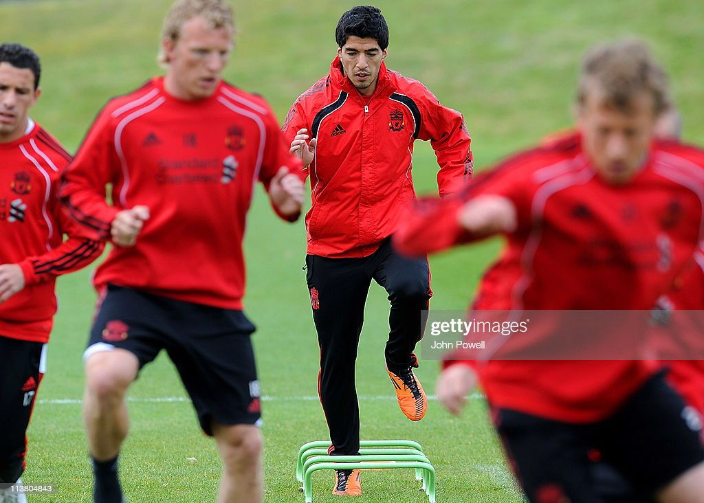 Luis Suarez of Liverpool in action during a Liverpool training session at Melwood Training Ground on May 6, 2011 in Liverpool, England.