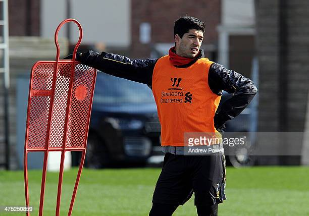 Luis Suarez of Liverpool in action during a training session at Melwood Training Ground on February 27 2014 in Liverpool England