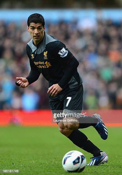 Luis Suarez of Liverpool in action during the Barclays Premier League match between Aston Villa and Liverpool at Villa Park on March 31 2013 in...