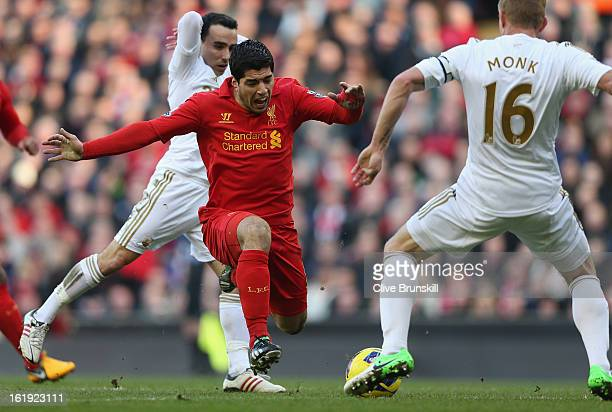Luis Suarez of Liverpool is fouled during the Barclays Premier League match between Liverpool and Swansea City at Anfield on February 17 2013 in...