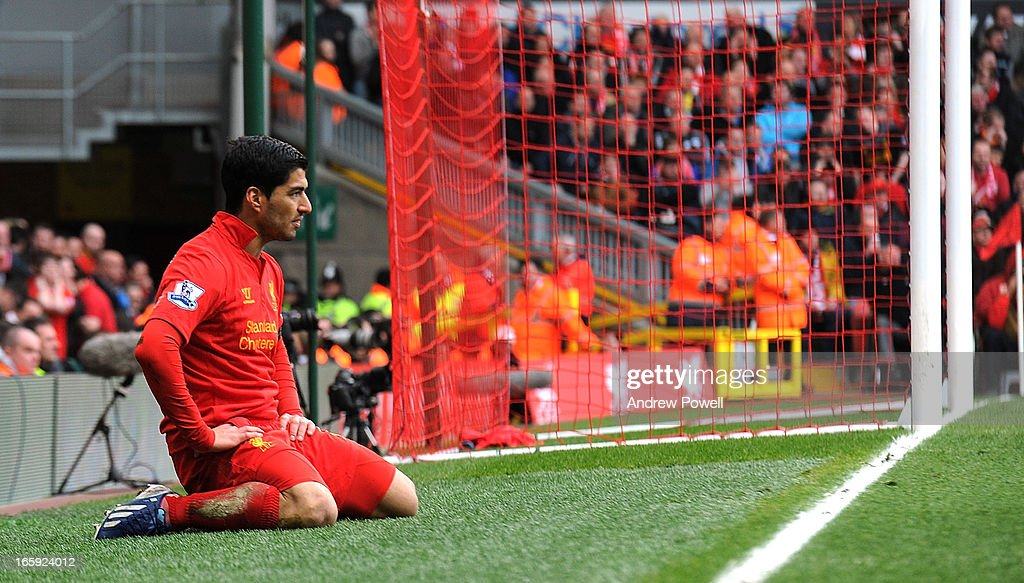 Luis Suarez of Liverpool looks dejected during the Barclays Premier League match between Liverpool and West Ham United at Anfield on April 7, 2013 in Liverpool, England.