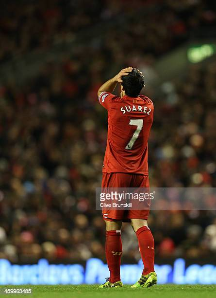 Luis Suarez of Liverpool shows his frustration after a near miss during the Barclays Premier League match between Liverpool and Hull City at Anfield...