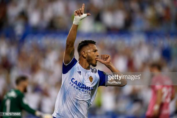 Luis Suarez of Real Zaragoza celebrates after scoring his sides first goal during the Liga Smart Bank match between Real Zaragoza and CD Tenerife at...