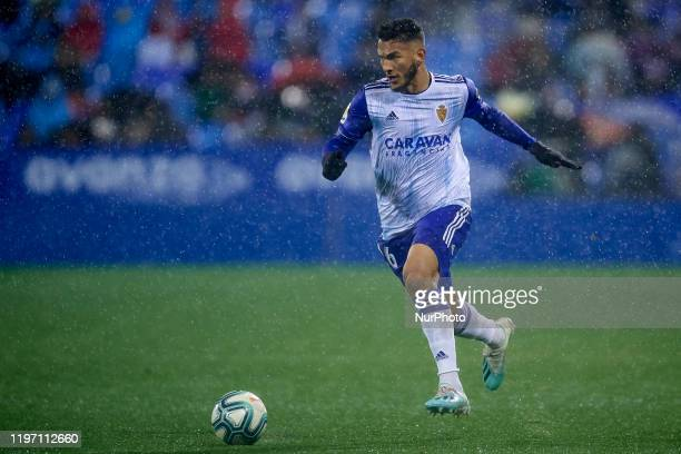 Luis Suarez of Real Zaragoza in action during the Liga Smartbank match between Real Zaragoza and CD Numancia at La Romareda on January 25, 2020 in...
