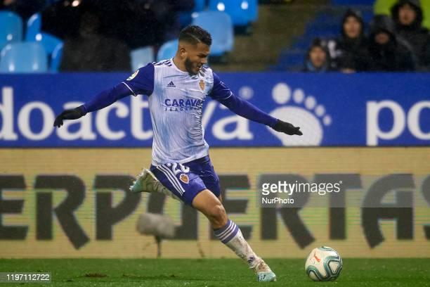 Luis Suarez of Real Zaragoza shooting to goal during the Liga Smartbank match between Real Zaragoza and CD Numancia at La Romareda on January 25,...