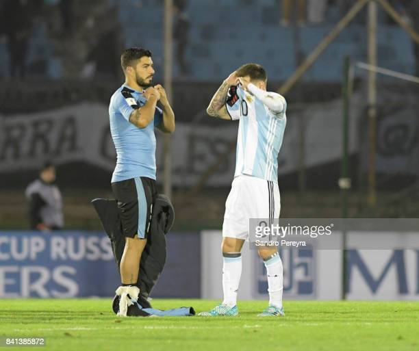 Luis Suarez of Uruguay and Lionel Messi of Argentina swap jerseys after a match between Uruguay and Argentina as part of FIFA 2018 World Cup...
