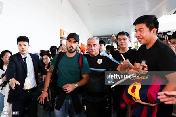 Luis Suarez of Uruguay arrives at airport ahead of the 2018 China Cup International Football Championship on March 20 2018 in Nanning China