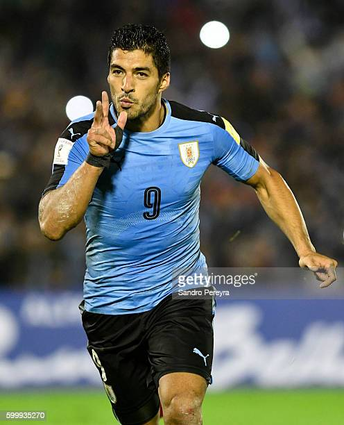 Luis Suarez of Uruguay celebrates after scoring during a match between Uruguay and Paraguay as part of FIFA 2018 World Cup Qualifiers at Centenario...
