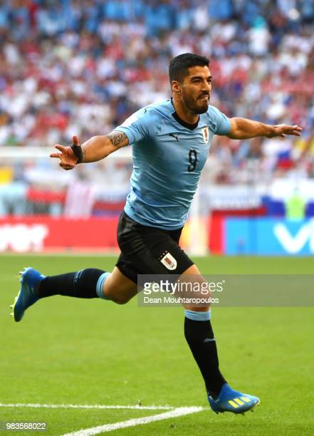 Luis Suarez of Uruguay celebrates after scoring his team's first goal during the 2018 FIFA World Cup Russia group A match between Uruguay and Russia...
