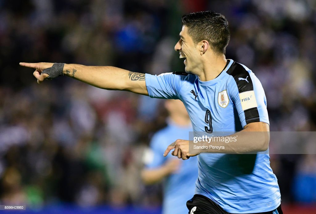 Luis Suarez of Uruguay celebrates after scoring his team's third goal during a match between Uruguay and Bolivia as part of FIFA 2018 World Cup Qualifiers at Centenario Stadium on October 10, 2017 in Montevideo, Uruguay.
