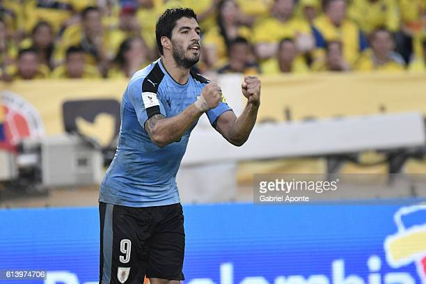 Luis Suarez of Uruguay celebrates after scoring the second goal of his team during a match between Colombia and Uruguay as part of FIFA 2018 World...