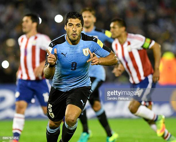 Luis Suarez of Uruguay celebrates after scoring the third goal of his team during a match between Uruguay and Paraguay as part of FIFA 2018 World Cup...