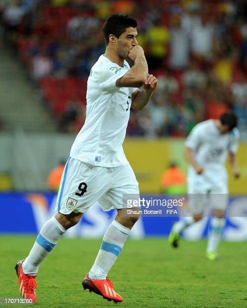 Luis Suarez of Uruguay celebrates scoring his team's first goal during the FIFA Confederations Cup Brazil 2013 Group B match between Spain and...