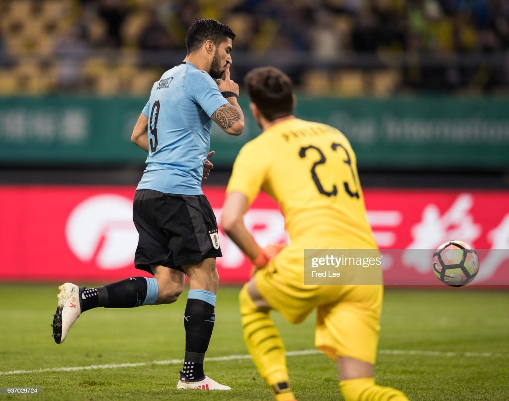 Luis Suarez #9 of Uruguay celebrates scoring his team's goal during 2018 China Cup International Football Championship between Uruguay and Czech Republic Republic at Guangxi Sports Center on March 23, 2018 in Nanning, China.