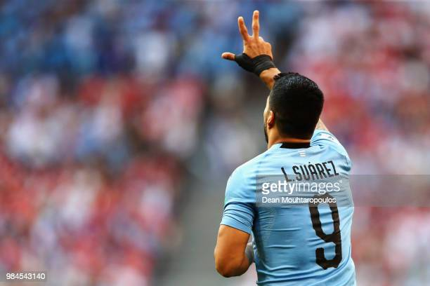 Luis Suarez of Uruguay celebrates scoring his teams second goal of the game during the 2018 FIFA World Cup Russia group A match between Uruguay and...