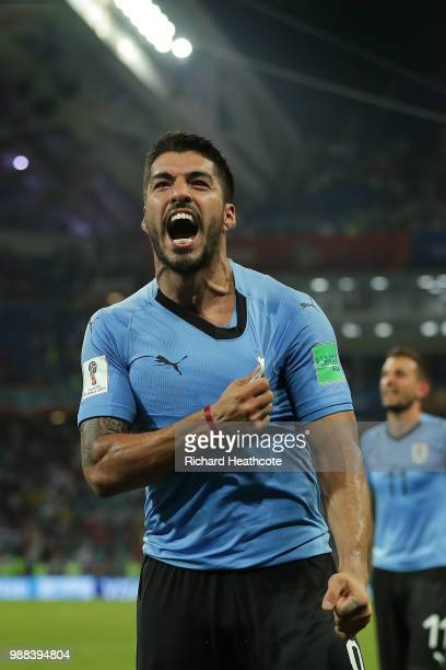 Luis Suarez of Uruguay celebrates victory at the final whistle during the 2018 FIFA World Cup Russia Round of 16 match between Uruguay and Portugal...
